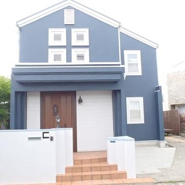 ブルー 外壁 グレー 塗装